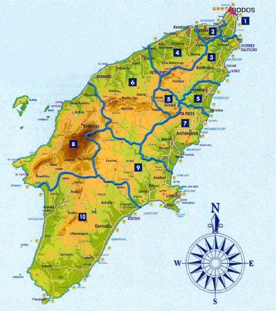 Административное деление Родоса на карте