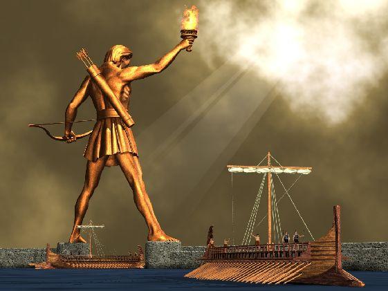 Колосс Родосский - античная 36-метровая статуя Бога Солнца, одно из 7 чудес света, разрушенных в 222 г. до н.э. во время землетрясения