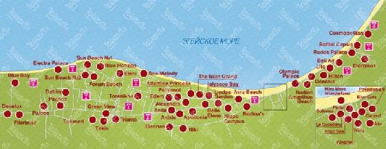 Размещение гостиниц и ресторанов на карте пляжей