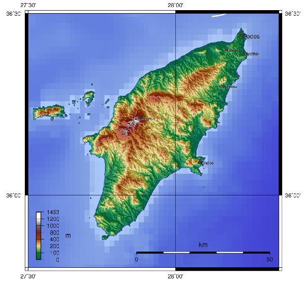 Рельев Родоса на географической карте