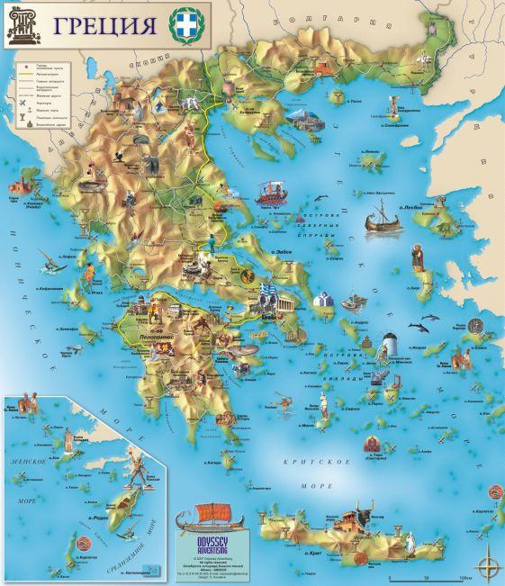Греческие острова на карте Греции